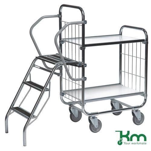 Warrior 250kg Flexible 2 Shelf Trolley with Ladder (Order Picking Trolley)