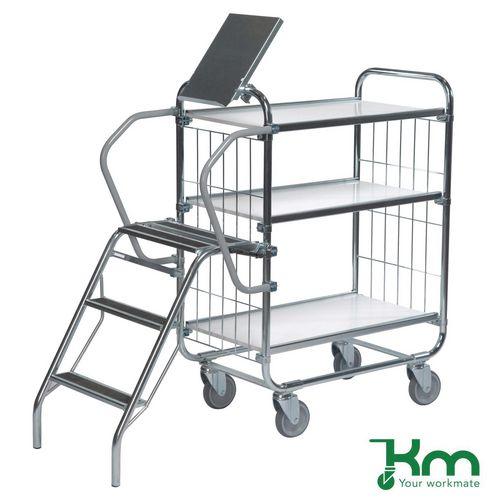 Warrior 250kg Flexible 3 Shelf Trolley with Ladder (Order Picking Trolley)