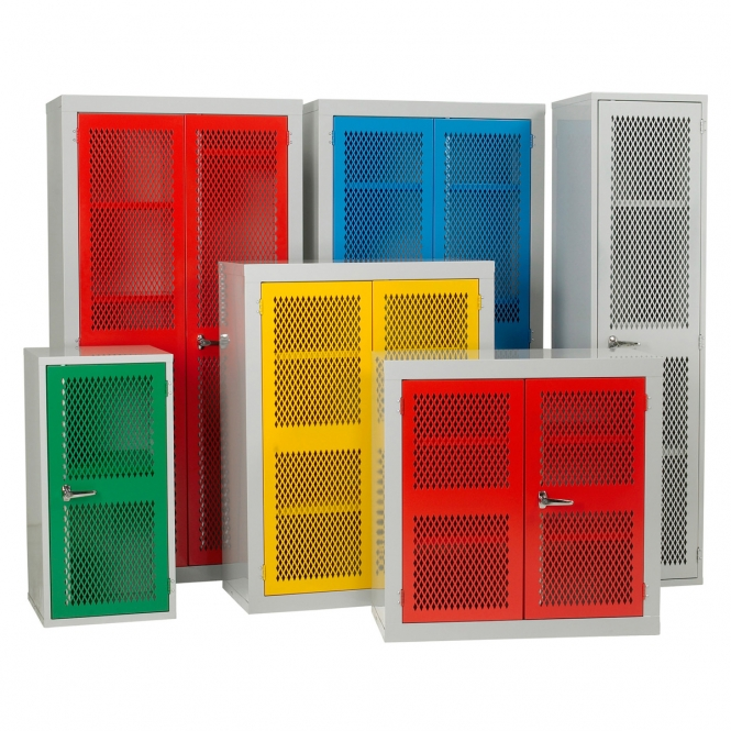 Warrior Mesh Door Cabinet c/w 2 Shelves