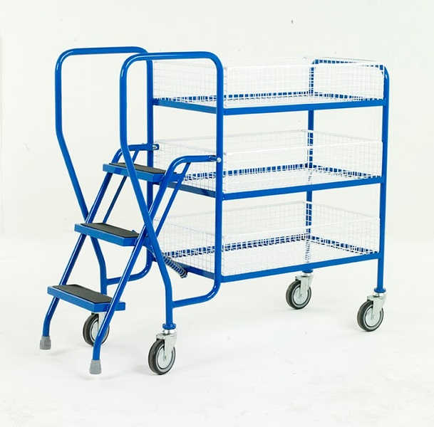 Warrior 3 Tier Step Tray Trolley with Removable Baskets