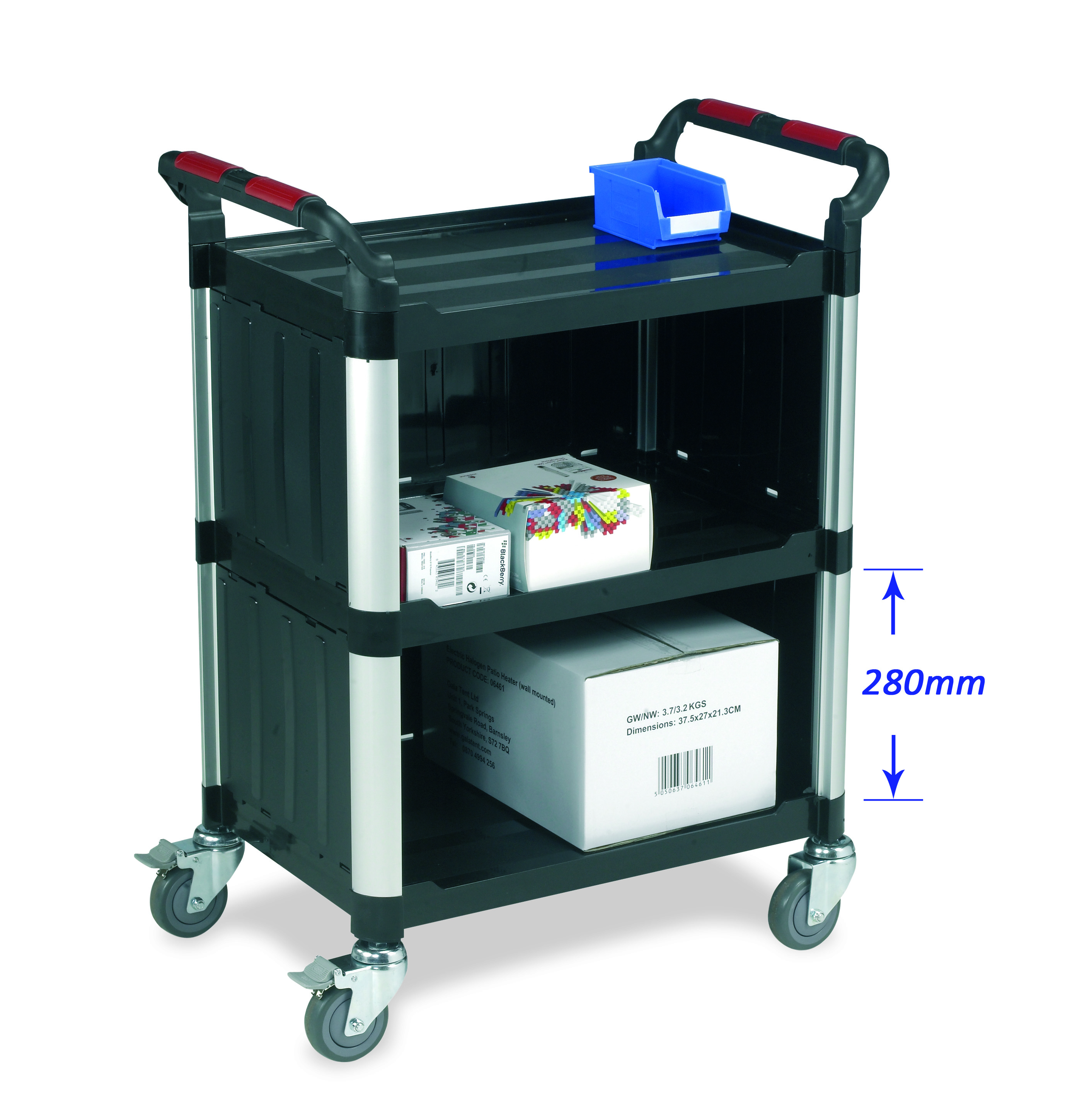 Warrior 3 Shelf Trolley (Standard) With Sides/Back Enclosed