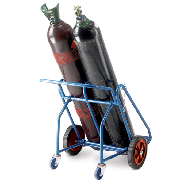 Warrior 200kg Oxygen Acetylene Cylinder Trolley with Rear Wheel