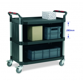 Warrior 3 Shelf Trolley (Large) With Sides/Back Enclosed