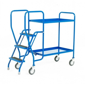 Warrior 2 Tier Step Tray Trolley with Fixed Blue Trays