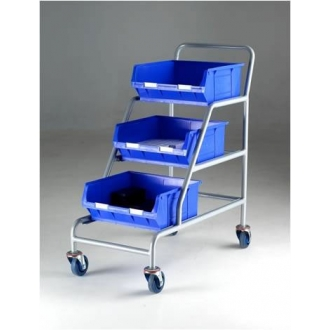 Warrior 200kg Angled Container Trolley Braked/Unbraked (Blue Containers)