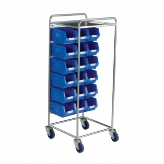 Warrior Container Trolley c/w 18 x TC3 Blue Containers