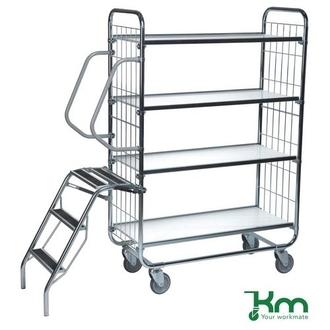 Warrior 250kg Flexible 4 Shelf Trolley with Ladder (Order Picking Trolley)